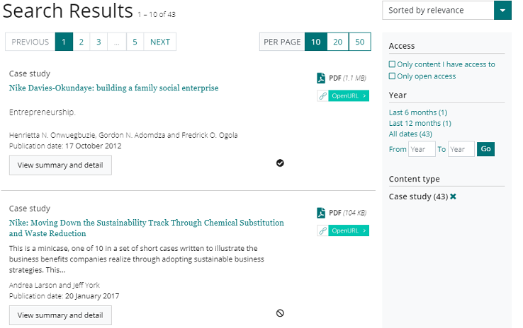 Screenshot of the case study search results in Emerald Insight