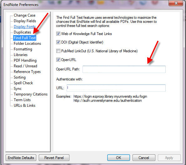 screenshot of the find full text area in EndNote preferences
