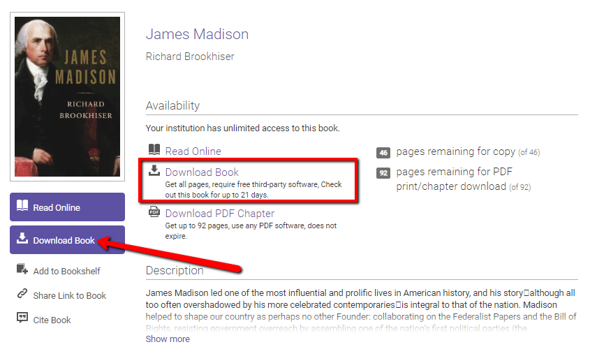 Screenshot of where to find the download book link in ProQuest's Ebook Central database.