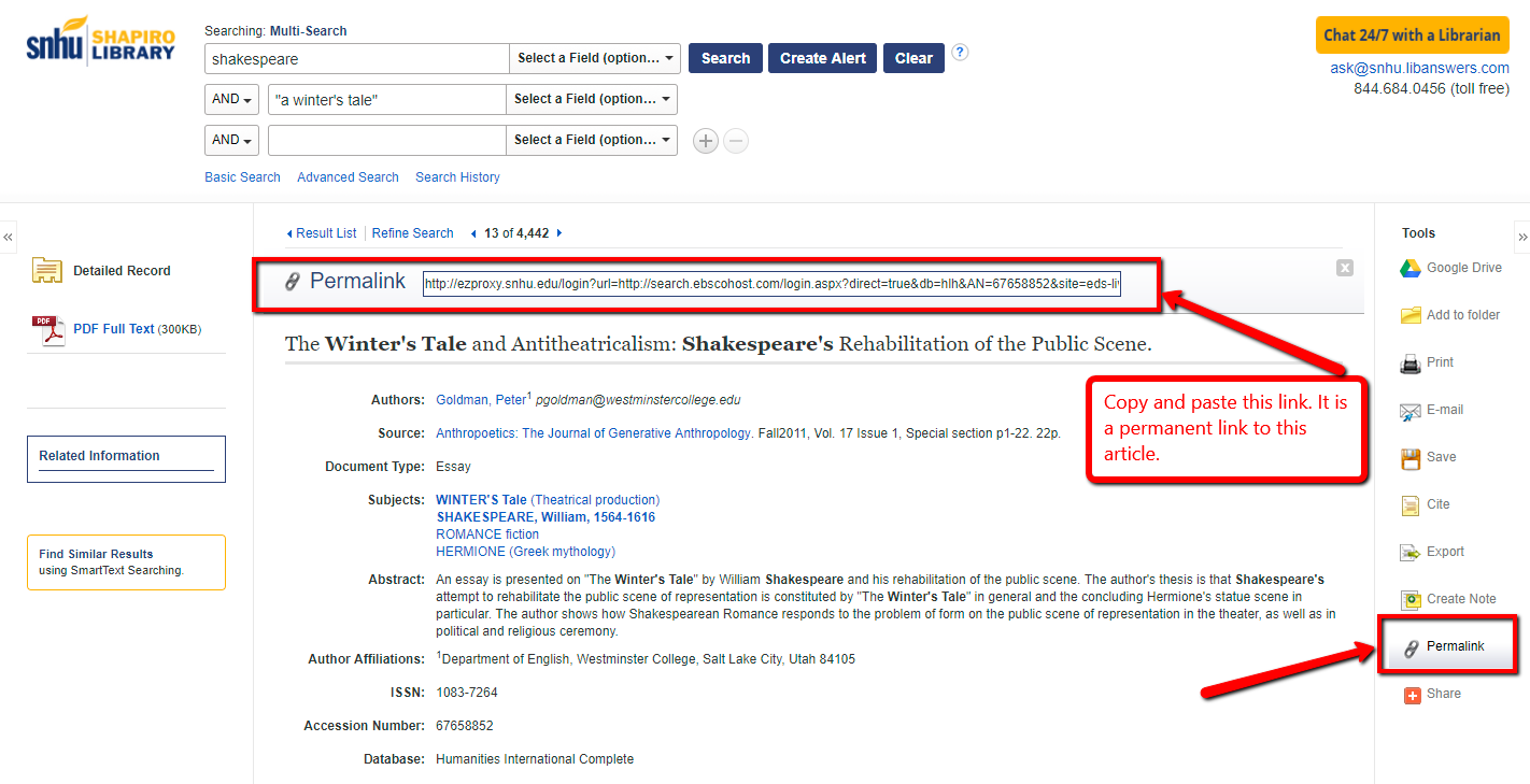 screenshot of where to find permalink in EBSCO