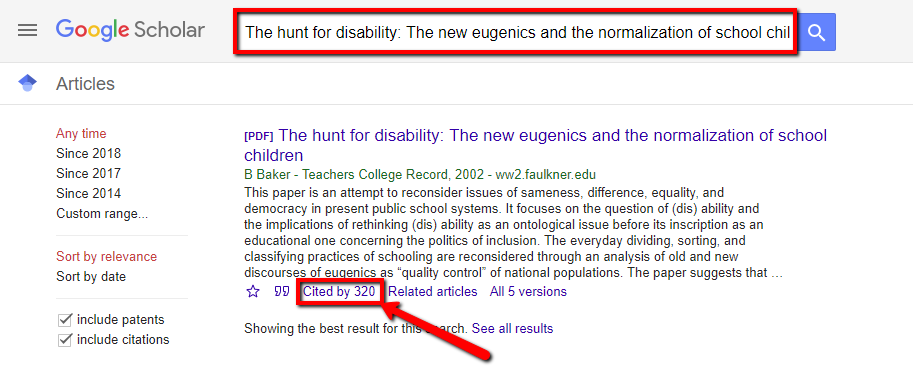Screenshot of where in Google Scholar you can find how many times an article has been cited by other sources
