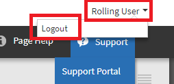 Screenshot of where to find the Logout button