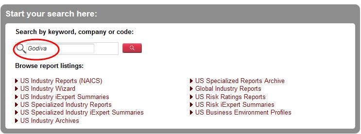 Screenshot of the IBIS World search box