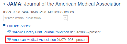 Screenshot of the JAMA search results in the Periodical Finder
