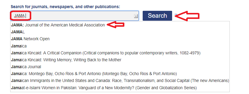 Screenshot of searching Periodical Finder for JAMA