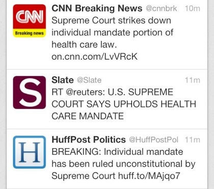 Twitter Feed with Multiple Different News Headings for Same Story