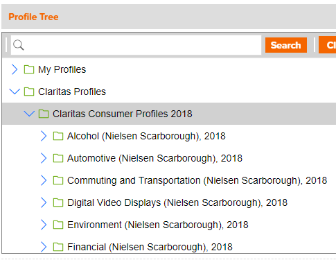 Screenshot of browsing for consumer behavior in SRDS.