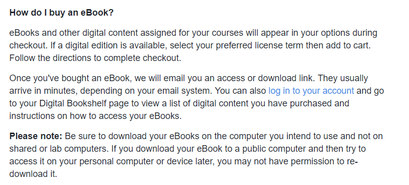 Screenshot of MBS FAQ about buying an ebook.