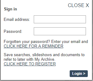 Screenshot of the My Archive popup where users can either sign in or register for an account.