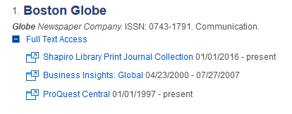 Screenshot of a search for the Boston Globe in the periodical finder