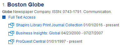 Screenshot of newspaper search in periodical finder