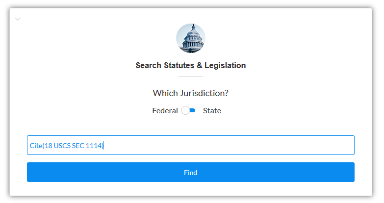 Screenshot of Federal Statute search