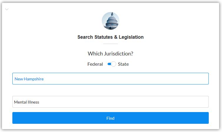 Screenshot of Nexis Uni state statute search box