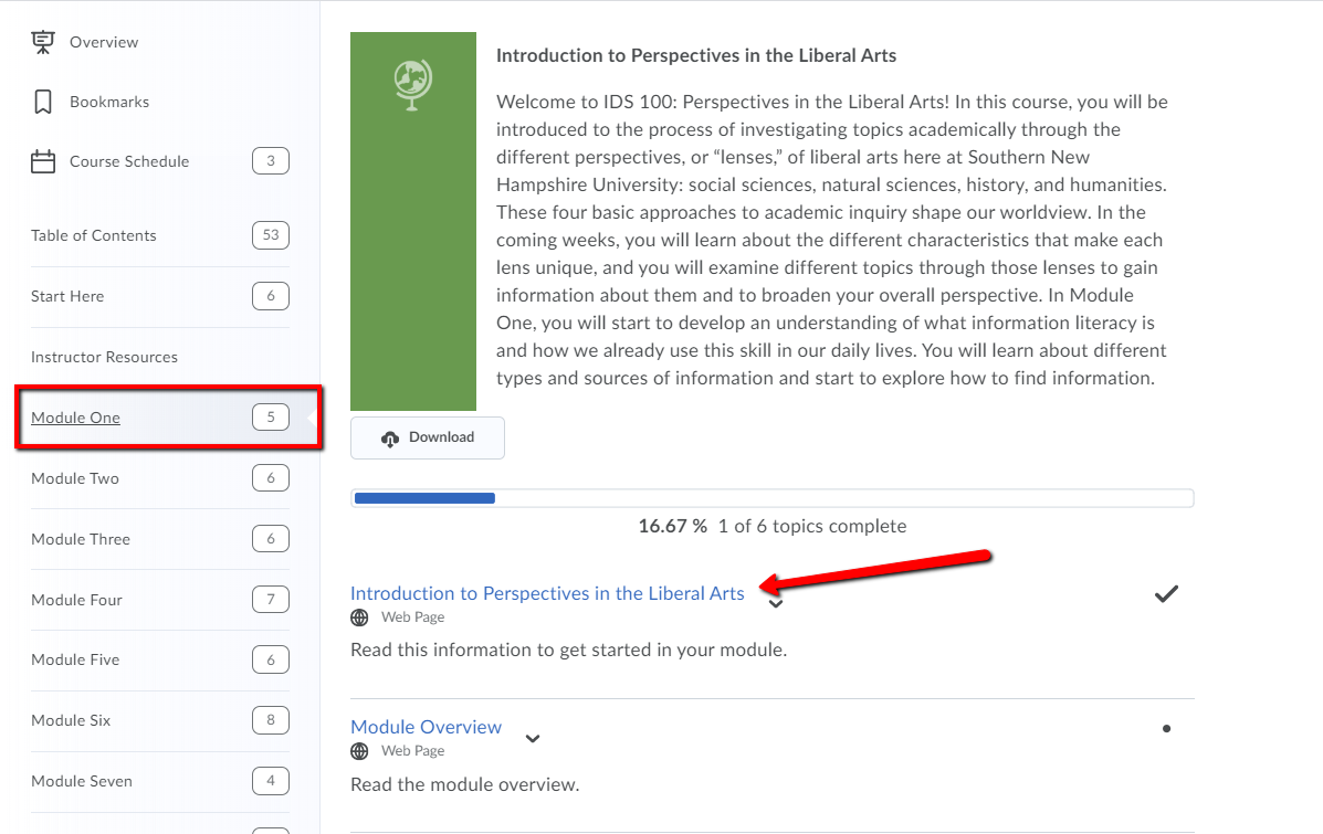 Screenshot of the IDS 100 Brightspace course. It highlights where Module One is and where to find the link to Introduction to Perspectives in the Liberal Arts