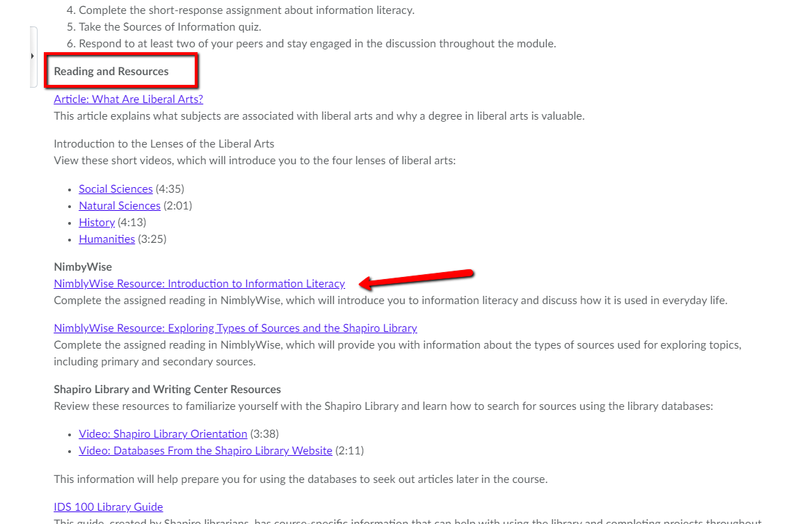 Screenshot of the IDS 100 Brightspace page and where to find the NimbyWise resources