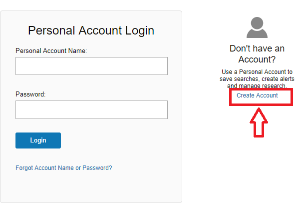 Screenshot of the personal account login page that includes a link to create an account