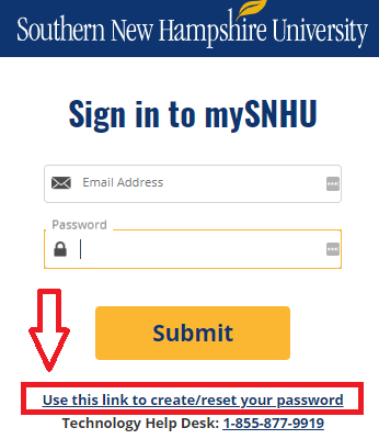 Screenshot of the link that will allow all SNHU users (faculty, staff, and students) to reset their own passwords instead of contacting IT. The link is titled Use this link to create/reset your password.