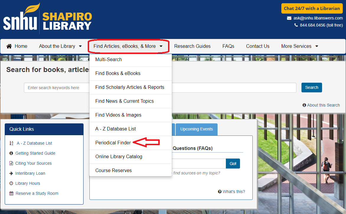 Screenshot of where to find the Periodical Finder on the library's website