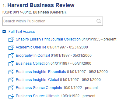 screenshot of periodical finder results for harvard business review