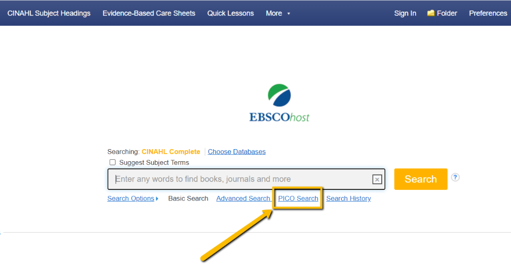 Screenshot of where to find the PICO Search link on the CINAHL search page