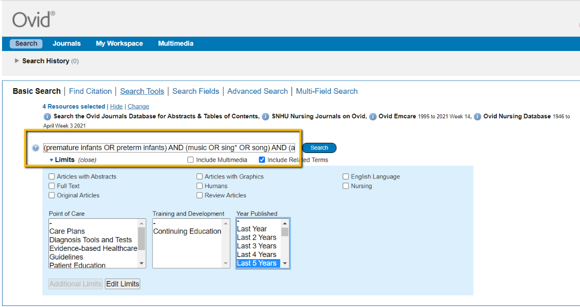 Screenshot of the search page in the Nursing Journals on OVID