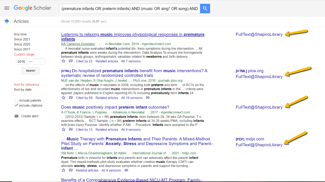 Screenshot of Google Scholar PICO Search