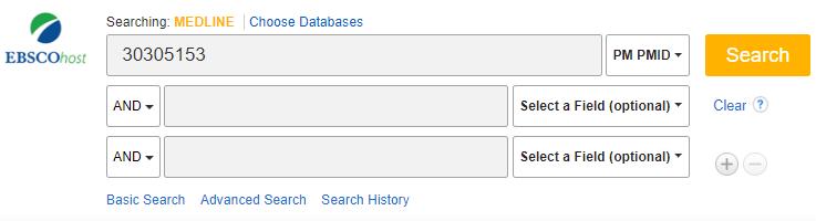 Screenshot of a search in MEDLINE with a PMID number in the search box and PMID selected as a field option.
