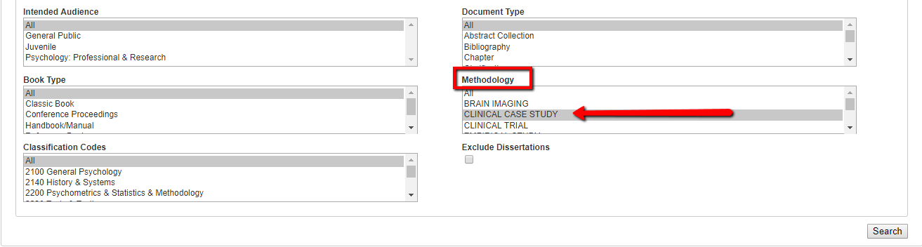 Screenshot of case study selected in methodology in psycinfo