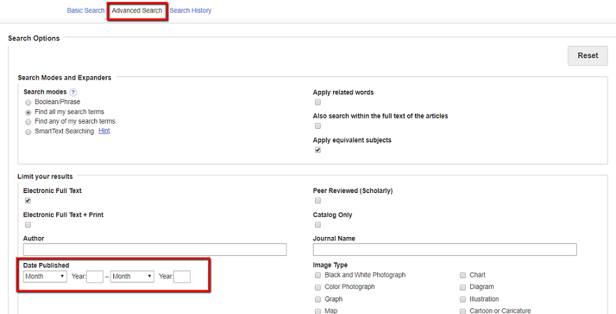 Screenshot of where to find the publication date limiter in Multi-Search's Advanced Search page. The limiter is located below the Advanced Search search boxes.