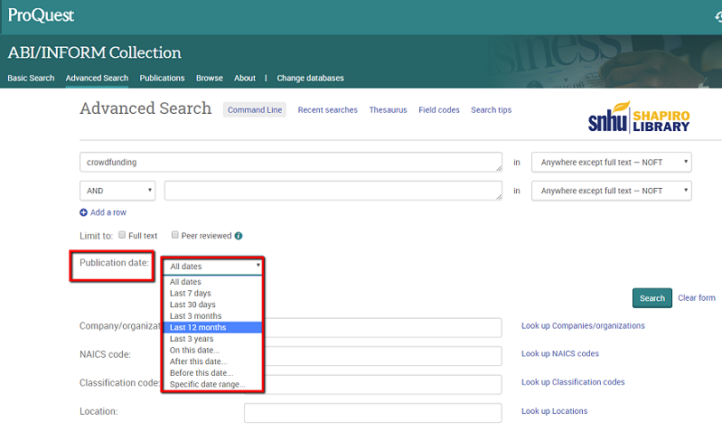 Screenshot of where to find the Publication Date limiter in ProQuest databases' Advanced Search page. The limiter is located below the Advanced Search search boxes.