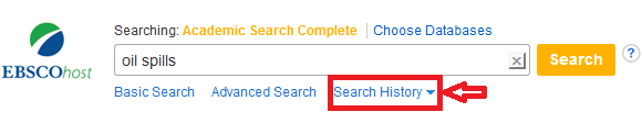 Screenshot of search history option