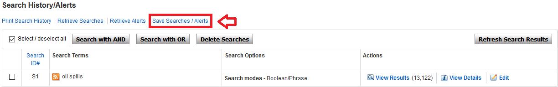Screenshot of Save Search option