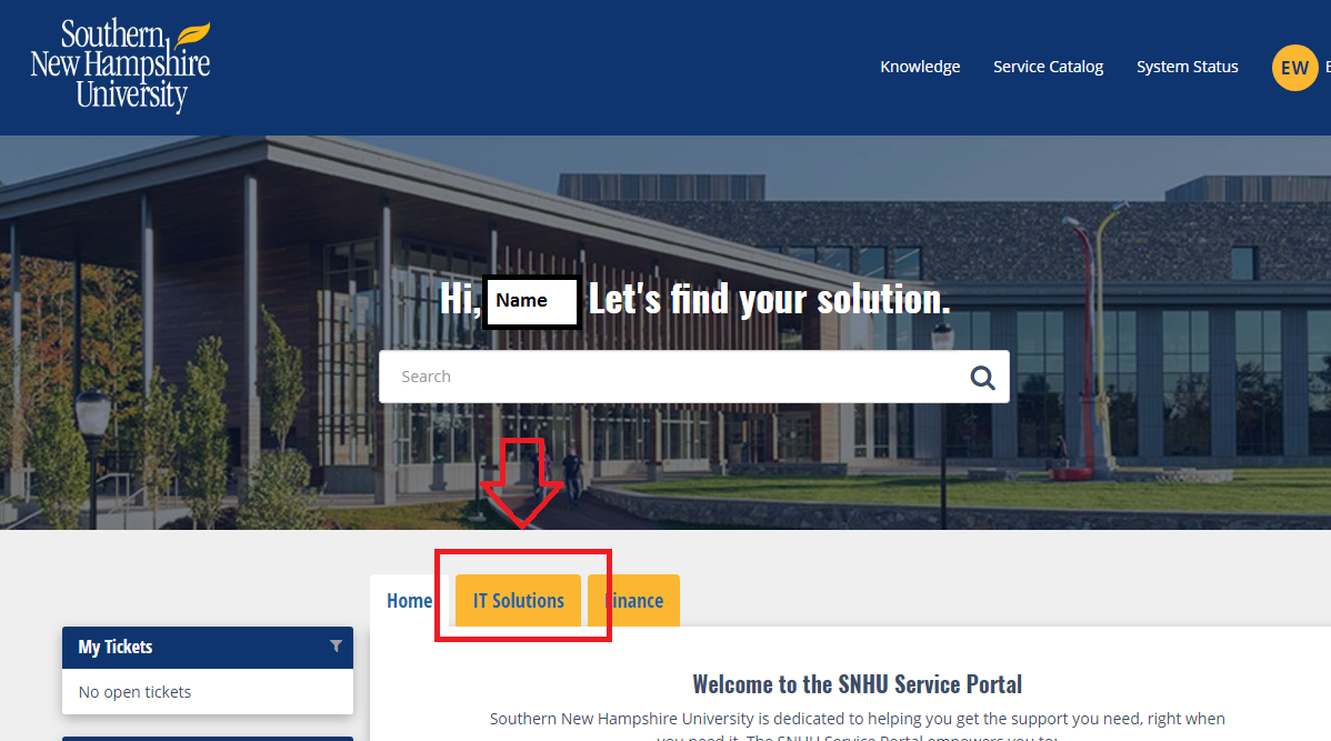 Screenshot of the Service Portal main page