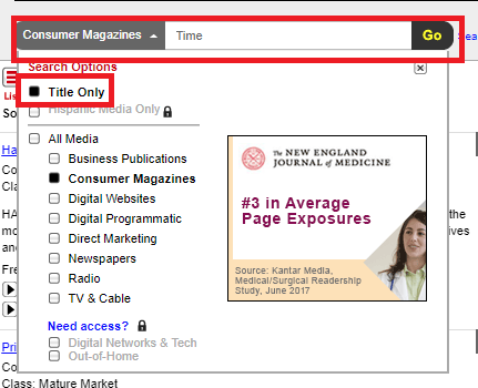 Screenshot of the SRDS Consumer Magazine search box