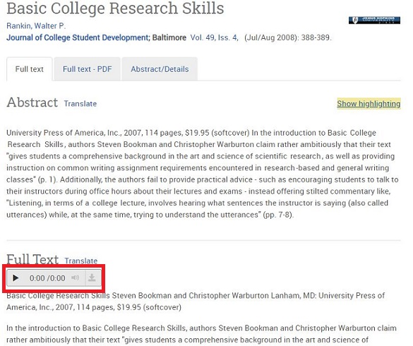 text to speech feature in proquest