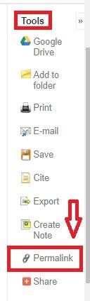 Screenshot of the Tools menu in EBSCO databases