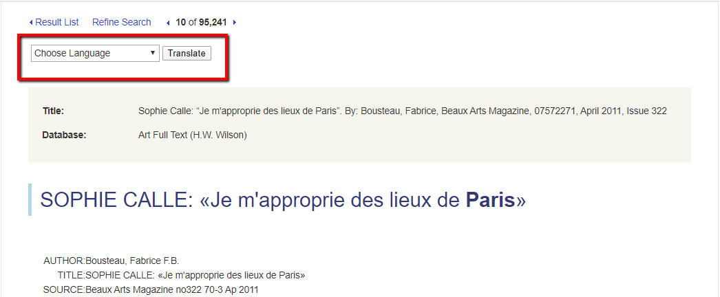 Screenshot showing the translation tool on an article originally published in French.