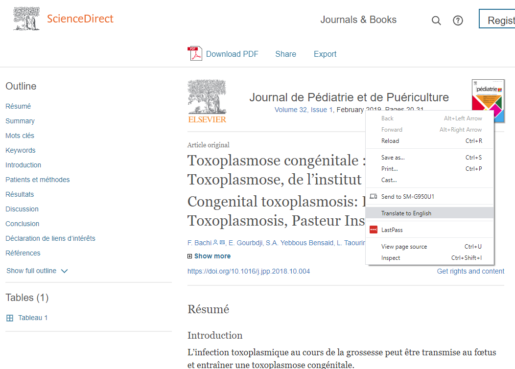 Screenshot of an article in the ScienceDirect database with the right click menu open.