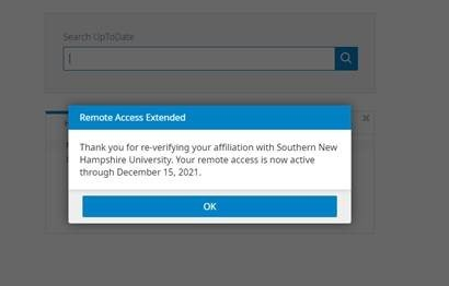 Screenshot showing that the user's remote access has been extended by re-verifying their affiliation with SNHU.