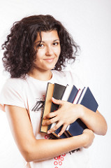 Woman holding textbooks