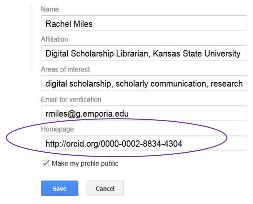 Screenshot of the fields you can edit on your Google Scholar Profile with a super-imposed circle around the Homepage field, whcih includes a link to the author's ORCID iD URL.