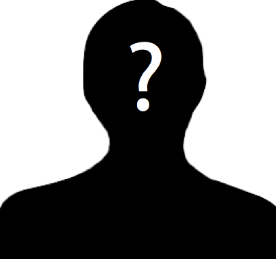 Silhouette of unknown or generic individual with a question mark superimposed