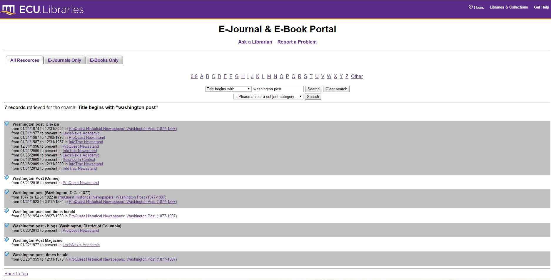 Image of E-Journal and E-Book Portal page