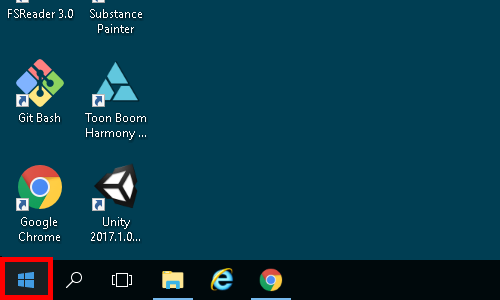 Windows start button on the taskbar
