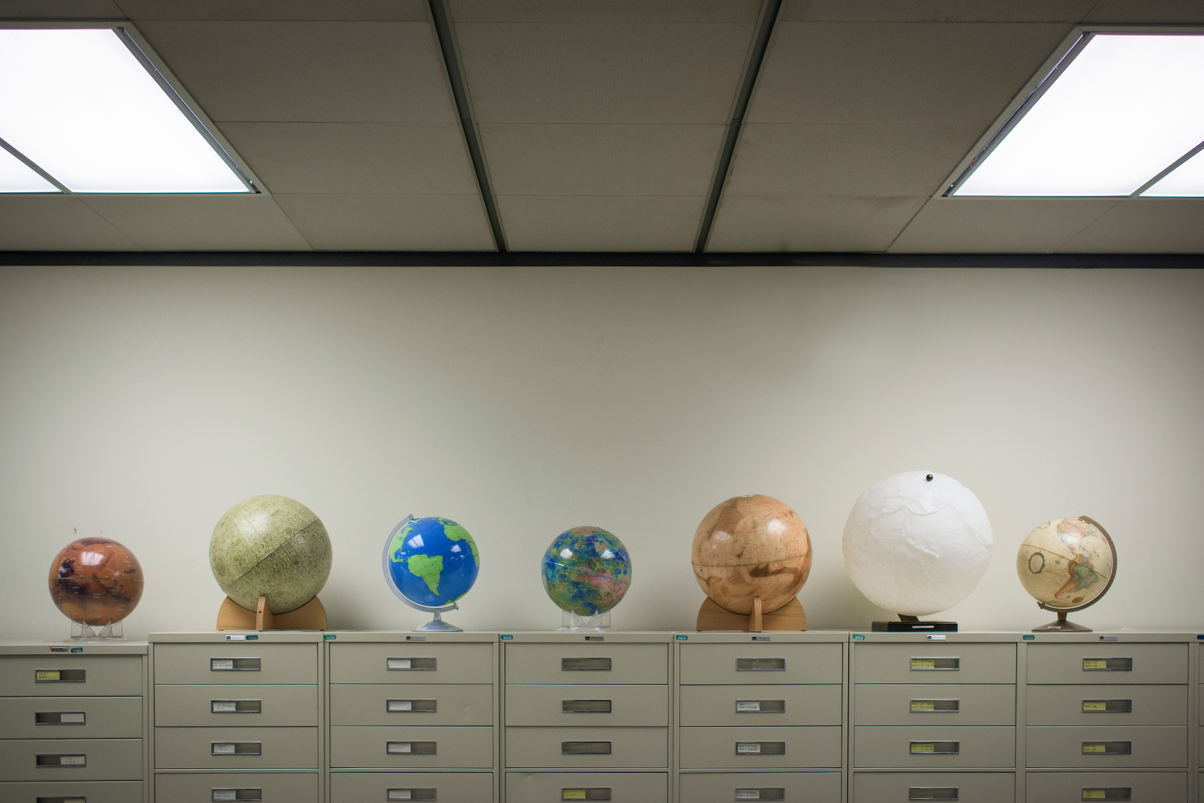 Fifth Floor Maps and Globes, Alden Library