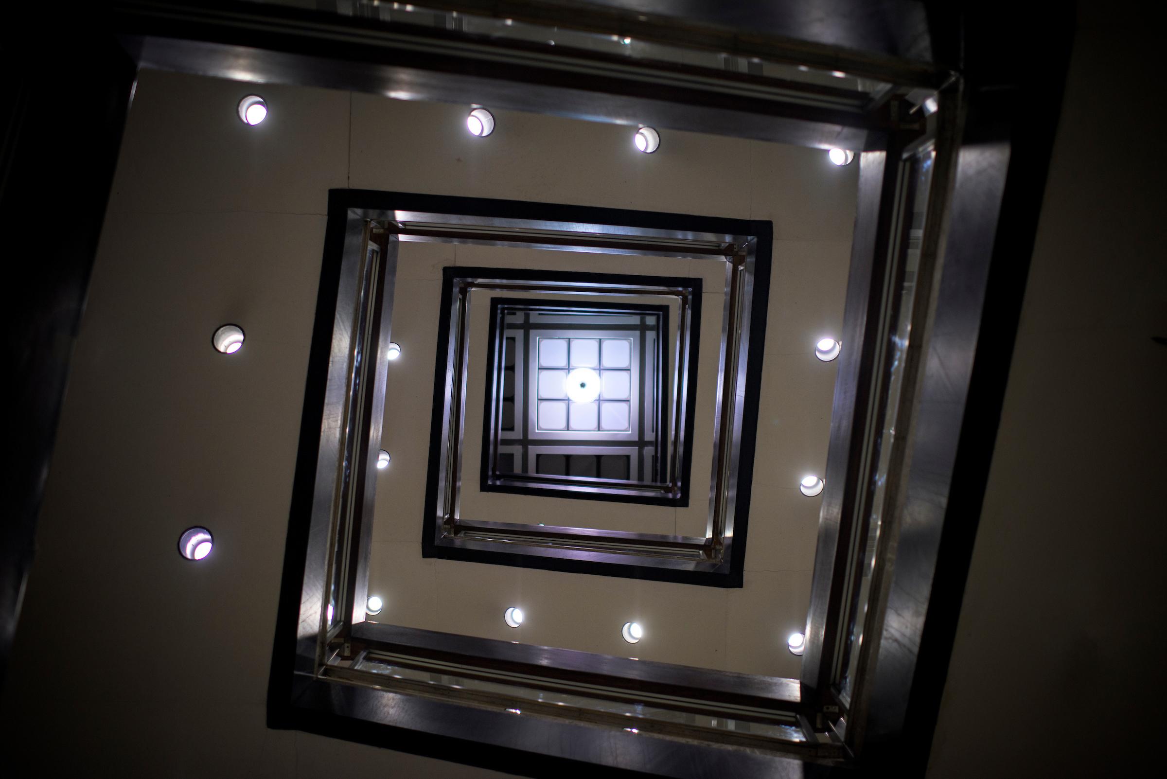 Stairwell, Upward View, Alden Library