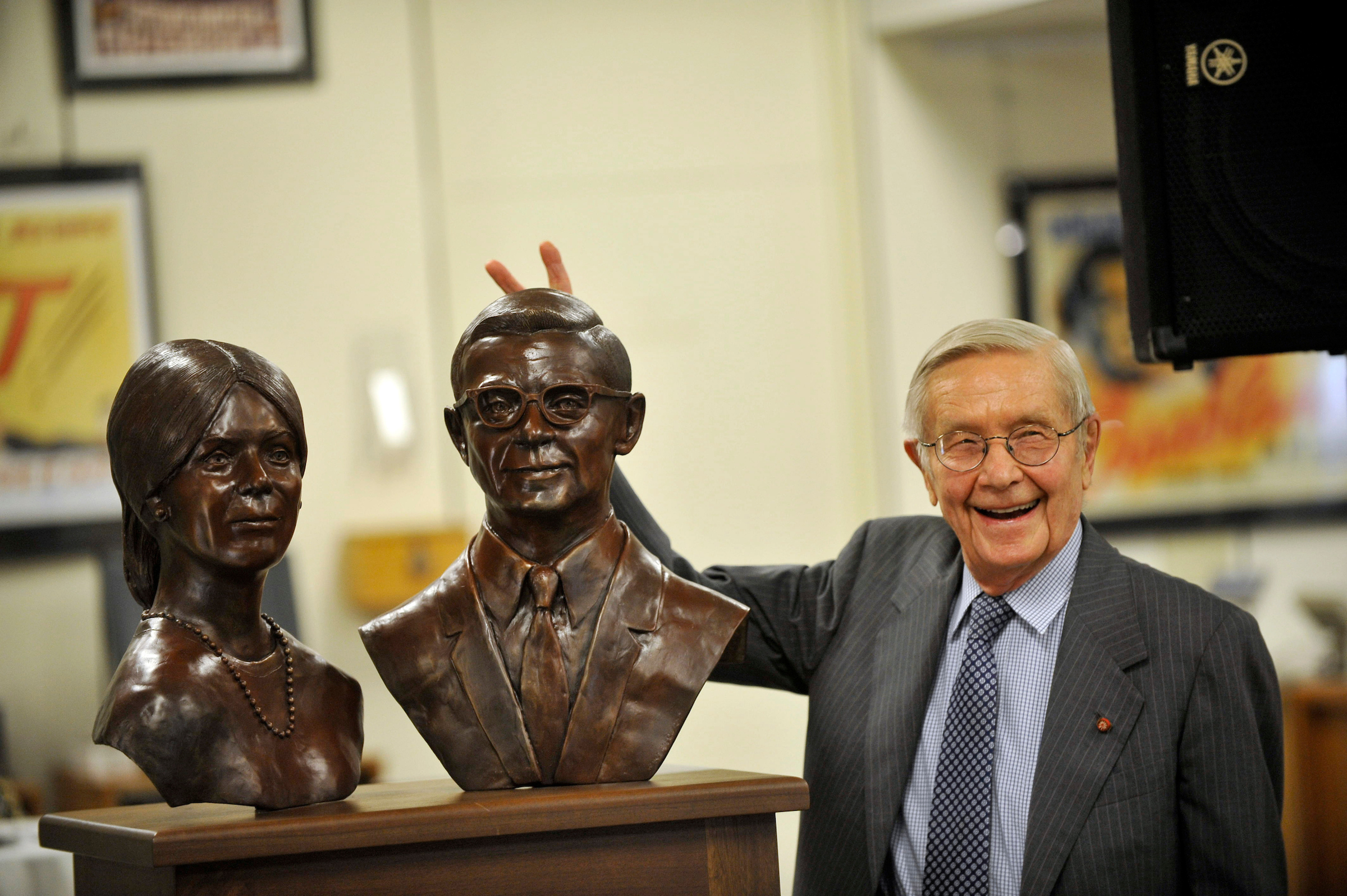 Dr. Alden Giving Bunny Ears to His Bust, Alden Library