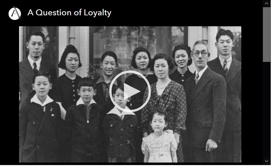 Screen shot of video player for A Question of Loyalty, epeisode 2 of the Asian Americans PBS documentary series.