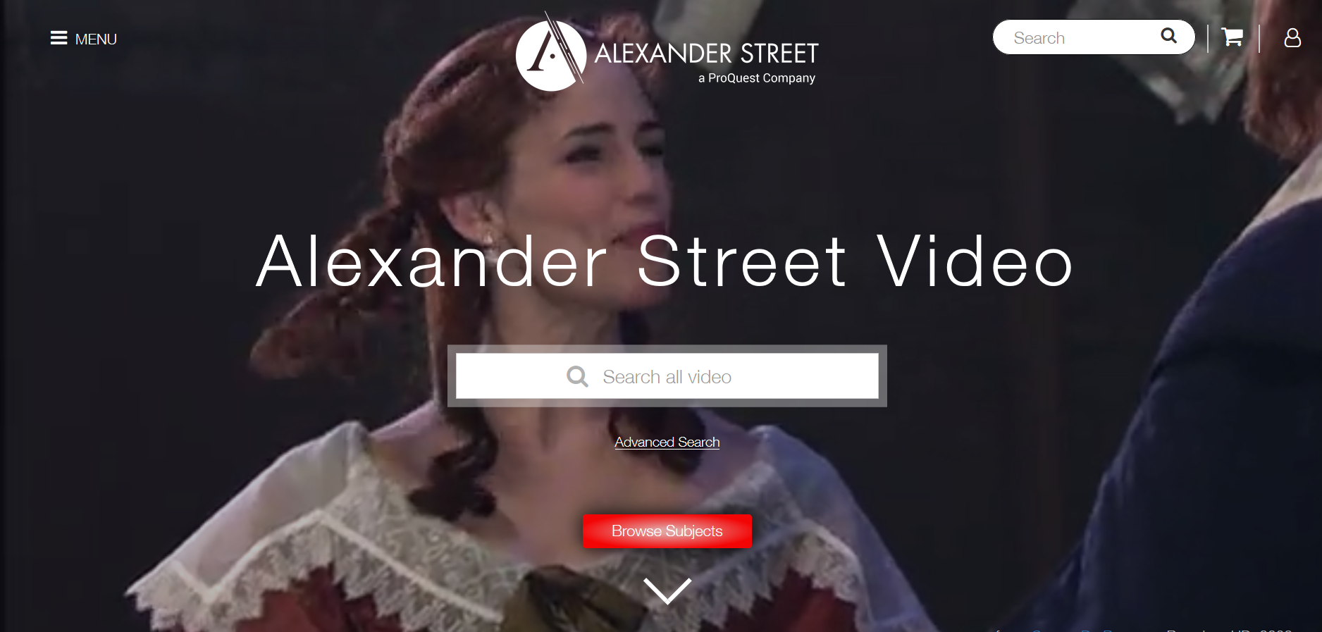 Sreen shot of Alexander Street Video home page
