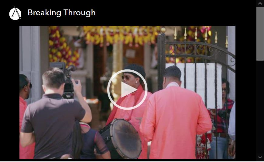 Screen shot of video player for Breaking Through, episode 5 of Asian Americans PBS documentary series.